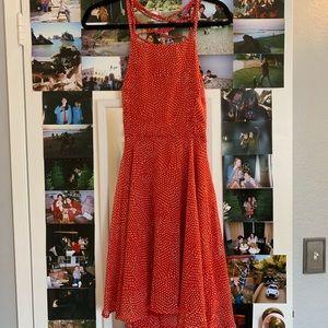 red polkadot skater dress